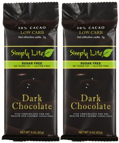 Simply Lite Low Carb Dark Chocolate Sugar-Free 50% Cacao 3-Ounce Ba Roasted (Pack of 10) ()