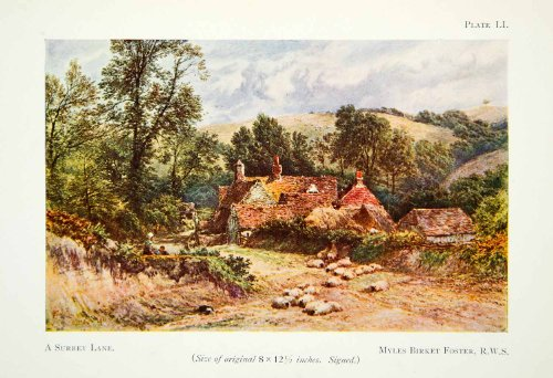 1929 Color Print Surrey Lane Myles Birket Foster Cottage Quaint Landscape Hills - Original Color Print Quaint Cottage