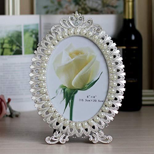 MMYU Photo Frame Photo Frame Oval Metal Photo Frame with Diamonds Pearls Creative Home Dec Wedding Photo Frame Birthday Gift