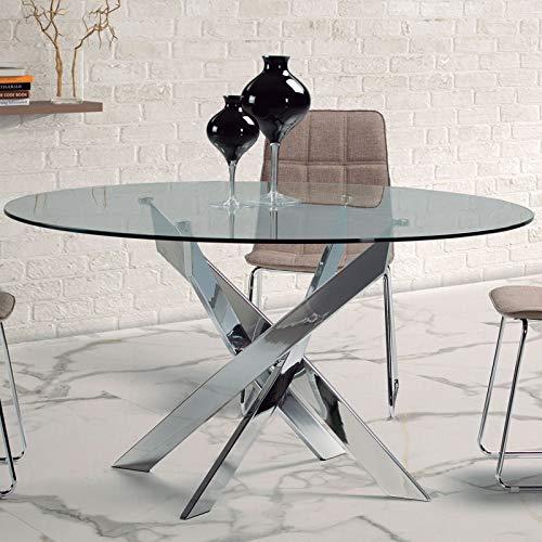 M-116 Mesa de Comedor Redonda de Cristal y Metal Design Annie ...