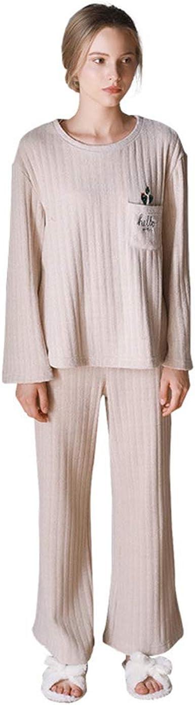 Casual Pantalones De Pijama Mujer Largos Pijama Manga Larga ...