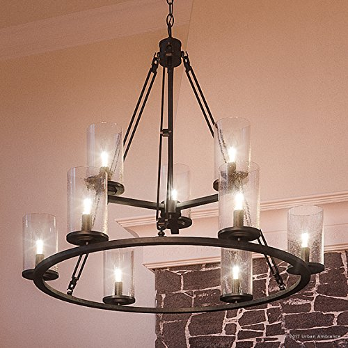 Luxury Industrial Chandelier, Large Size: 30''H x 33''W, with Western Style Elements, Rectangular Link Design, Elegant Estate Bronze Finish and Seeded Glass, UQL2131 by Urban Ambiance by Urban Ambiance (Image #8)