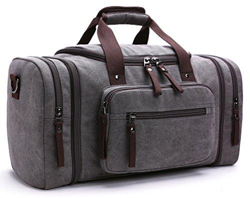 Kenox Oversized Canvas Travel Tote Luggage Weekend Duffel Bag (Grey)