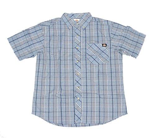 Button Shirt Down Denim Dickies (Dickies Men's Short Sleeve Casual Plaid Shirt (Light Blue/Denim, 2XL))