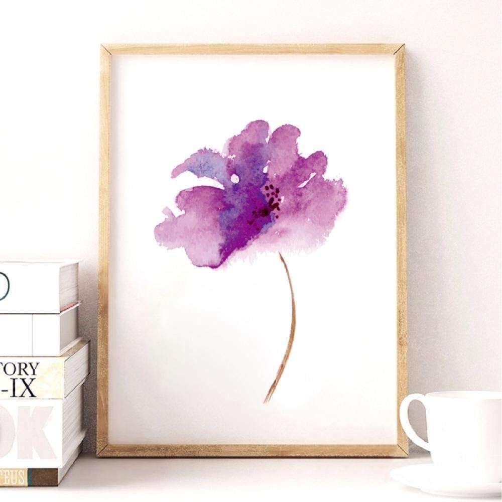 LovelyHomeWJ Púrpura Lila Flor Arte de la Lona Impresión del Cartel Acuarela Lila Flor Flor de la Lona Cuadro de la Pared para la Decoración del Hogar 40x50 cm