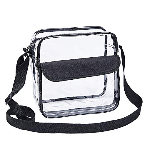 Magicbags Clear Cross-Body Messenger Shoulder Bag, NFL and PGA Stadium Approved Clear Purse with Adjustable Strap (Vinyl Heavy Ncaa Duty)