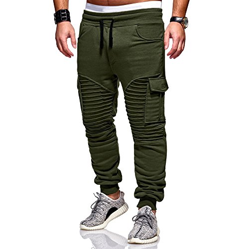 Athletics Men's Fleece Jogger Pants t Sweatpants Slacks Casual Elastic Sport Solid Baggy Pockets Trousers by fbR8wawOKPHoYL9