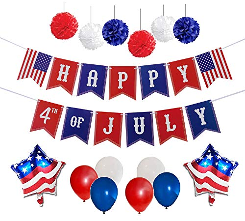 4th of July Party Decorations Set | Happy 4th of July Banner | American Flag Balloons | Multi-Color Balloons | Hanging Pom Poms Decor
