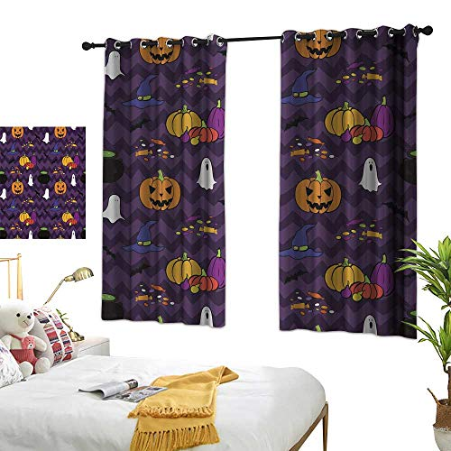 wwwhsl Creative Blackout Curtain Halloween Pattern Blackout Living Room/Bedroom Window Curtains W62.9 xL62.9 ()