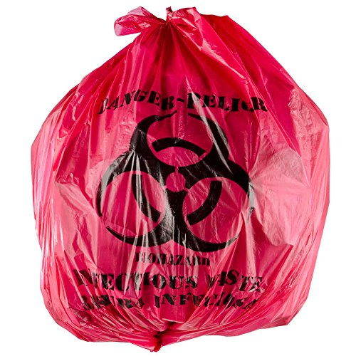 Red Isolation Infectious Waste Bag / Biohazard Bag High Density 12 Microns - 1000/Case By TableTop King