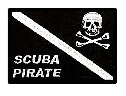 Scuba Pirate Patch Embroidered Iron On Diving Jolly Roger Skull Crossbones Emblem Souvenir