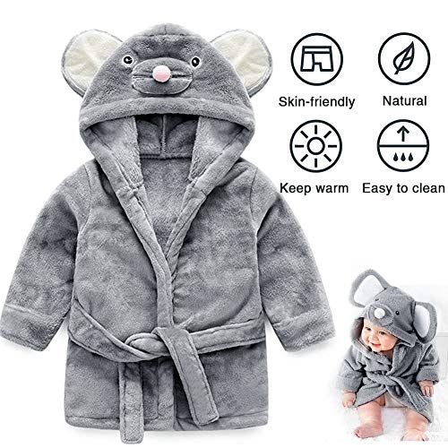 UMODE Baby Hooded Bathrobe Cute Mouse Design Flannel Ultra Soft Robe for 0-9 Months Baby ()