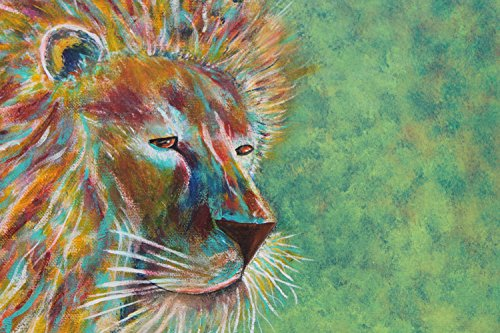 Giclee PRINT 11x14 Abstract African Lion Majestic King Safari Cat Art Wildlife Colorful Bold Animal Art Nature Wildlife Contemporary - Bold Animal