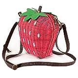 FTSUCQ Strawberry Handmade Crochet Straw Woven Shoulder Handbags Tote Beach Bag Satchels