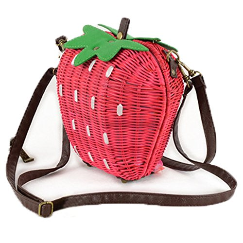 Australia Day Costume Hire (FTSUCQ Strawberry Handmade Crochet Straw Woven Shoulder Handbags Tote Beach Bag Satchels)