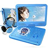 FUNAVO 10.5'' Portable DVD Player with Headphone, Carring Case, Swivel Screen, 5 Hours Rechargeable Battery, SD Card Slot and USB Port (Blue)
