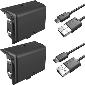 HSTEK Paquete de la batería del Controlador de Xbox One 2 x 1600mAh batería Recargable W / 2 x 10 pies de Cable de Carga USB Xbox One X/One S/Uno Elite Wireless: