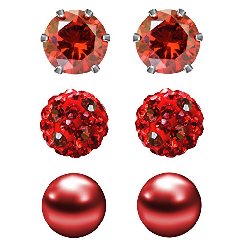 JewelrieShop 3 Pairs Stud Earrings Set for women girls Cubic Zirconia Rhinestones Faux Pearl, Birthstone, Hypoallergenic, Stainless Steel Earrings Pin - Deep Red (Jan.)