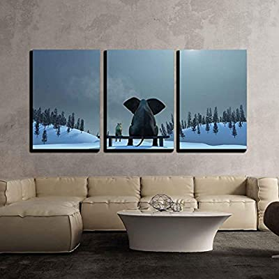 Elephant and Dog at Christmas Night x3 Panels...
