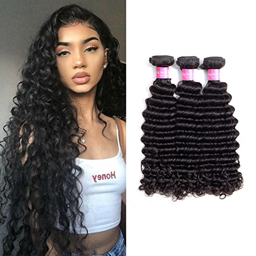New Deep Wave Weave - ORIGINAL QUEEN Brazilian Deep Wave 3 Bundles Virgin Human Hair 8A Grade Brazilian Unprocessed Deep Curly Hair Extensions Natural Color(18 20 22)