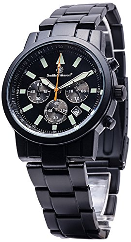 Smith & Wesson Men's Pilot Watch with 3ATM/Round Face/Multi Function Chronograph/Stainless Steel Strap/Japanese Movement/Glowing Hands, 39mm, Black - Smith And Wesson Tritium Watch
