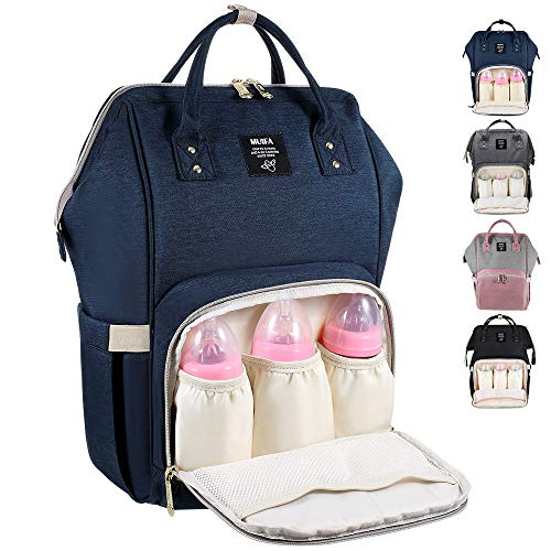 MUIFA Diaper Bag Multi-Function Waterproof Travel Backpack Nappy Bag for Baby Care with Insulated Pockets, Large Capacity, Durable (Navy Blue)