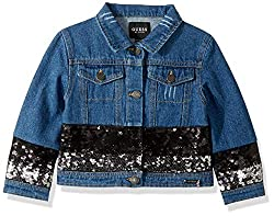 Girls Long Sleeve Sequin Denim Jacket