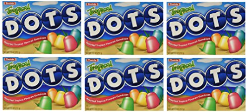 - Tootsie Roll Industries Tropical Dots Gummy Candy Assorted Fruit Flavored Gumdrops 7.5 Ounce Boxes (Pack of 6)