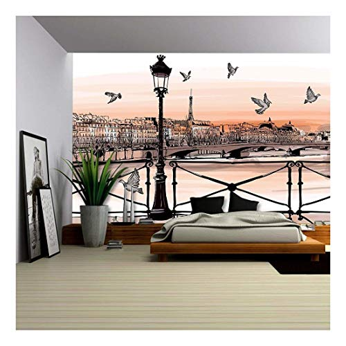 Paris Murals - wall26 - Vector - Sunset on Seine River from Pont Des Arts in Paris - Vector Illustration - Removable Wall Mural | Self-Adhesive Large Wallpaper - 100x144 inches
