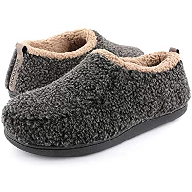 RockDove Men's Nomad Sherpa Memory Foam Slipper, Size 8-9 US Men, Black