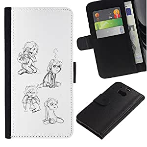 Stuss Case / Funda Carcasa PU de Cuero - La niña del Niño que juega feliz Arte Dibujo - HTC One M8