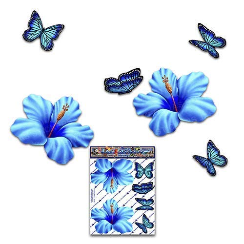 Tropical Animal Small Vinyl Sticker Pack For Laptop Luggage Bicycle Bike Caravans Van Camper Trucks /& Boats ST023BL/_1 JAS Stickers/® HIBISCUS FLOWER// BUTTERFLY CAR DECALS Blue