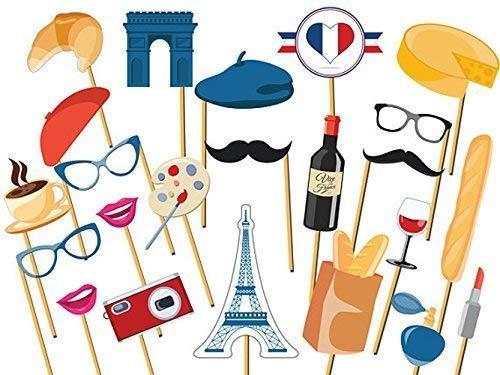 Custom France Paris Cutout prop, Vine of France Cutout Prop, Size 24x36, France Flag Photo Booth Cutout, Vine Glass, Paris Perfume, Cheese, Handmade DIY Party Supply Photo Booth Props