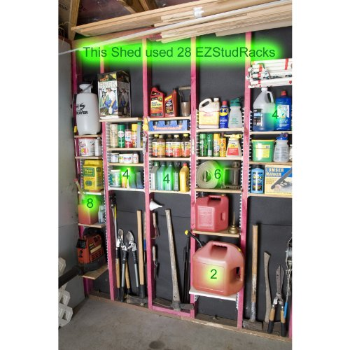 EZStudRack Shelving System for Garages, Sheds, Pantries, Closets, and More. Includes 16 EZStudRacks & 64 Screws.