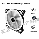 EZDIY-FAB 120mm LED PC Fan, Silent Fan for Computer Cases, CPU Coolers, and Radiators Ultra Quiet, Dual Ring LED Edition,3 Pin-White-2 Pack