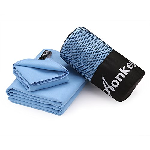 Microfiber Camping Towel Set of 2 Pack, Aonkey Ultra Compact Absorbent and Quick Dry Travel Towels with Hand Towel & Mesh Bag for Sports, Backpacking, Beach, Swimming, Gym, Bath and Yoga (Blue) Golfing Around Sports Bag