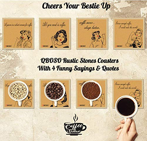 QBOSO Coasters for Drinks Absorbent Ceramic Stones Coaster Perfect Decor for Living Room Kitchen Or Office Unique Gift for Friends (4 PC Vintage Style)
