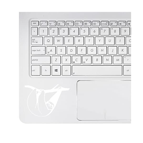 Stickany Palm Series Sloth Hanging Sticker For Macbook Pro, Chromebook, And Laptops (White) -