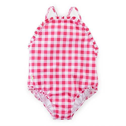 Ralph Lauren Baby GIrls Gingham One-Piece Swimsuit Pink/White Multi (12 Months)