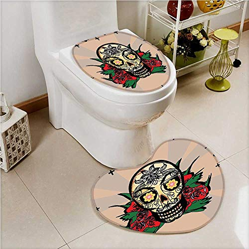 aolankaili 2 Piece Toilet Cover Set Sugar Skull with Red Rose and Cross Spooky Halloween Art Theme in Bathroom Accessories]()