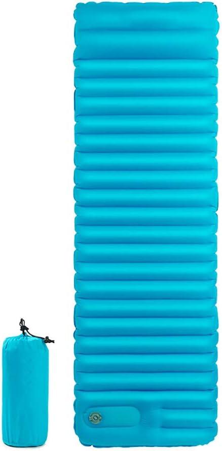 HWShop Dormir Alfombra Ultraligero Camping colchón Inflable Cama de Aire con Bomba de Aire incorporada, portátil y Plegable de Inflating Cama Individual, para Senderismo Hamaca Tienda y mochilero