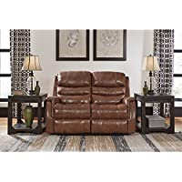 Ashley Furniture Signature Design - Metcalf Recliner Loveseat - Power Reclining - Contemporary Style - Nutmeg