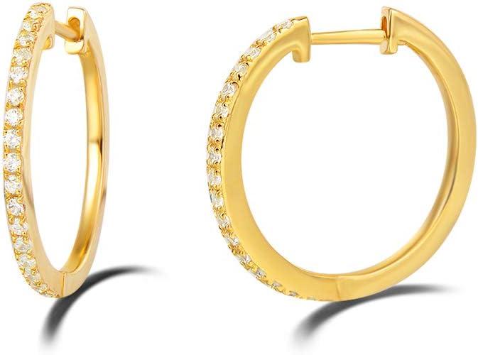 Fashion Women Gold Plated Two Rows Clear Princess Zircon CZ Huggie Earrings 20MM