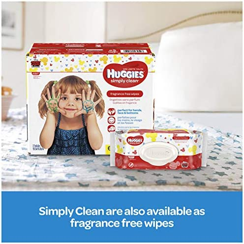 51nEQmnuAiL. AC - Huggies Simply Clean Unscented Baby Wipes, 11 Flip-Top Packs (704 Wipes Total)