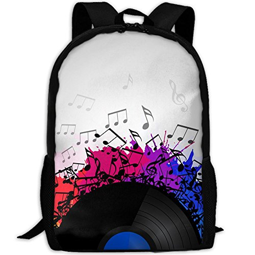SARA NELL School Backpack Vinyl Record With Music Notes School Bookbag Casual Outdoor Daypack Travel Bag For Teen Boys Girls College Student