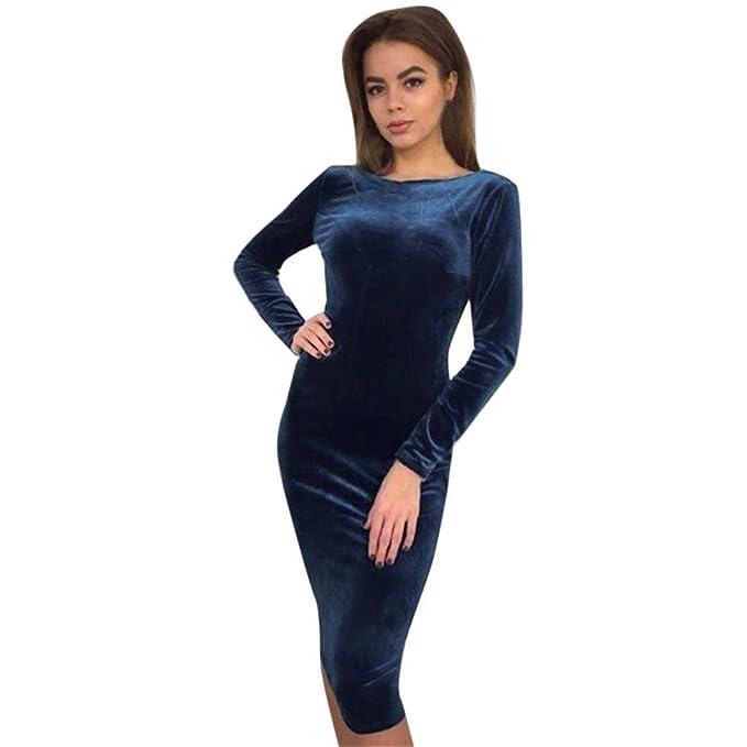 Kleid damen Kolylong® Frauen Elegante Samt Langarm Kleid Vintage ...