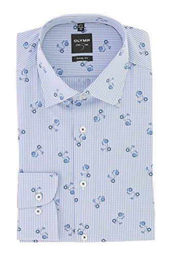 OLYMP Business & Freizeit Hemd Langarm Level 5 Five Serie mit Kent Kragen Body Fit Gr.40 Blau Kariert mit Rollermuster