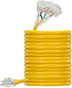 15 ft 12 Gauge UL Listed Heavy Duty Indoor Outdoor SJTW Lighted Triple Outlet Extension Cord by Antkeet, Yellow 15 foot 12 AWG Copper Lighted Multi Outlet Grounded 12/3 Extension Cord