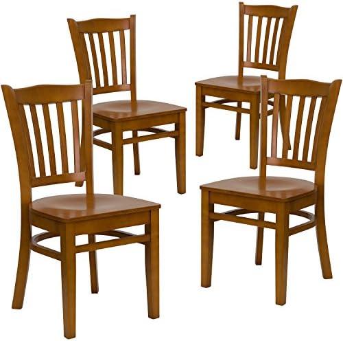 Flash Furniture 4 Pk. HERCULES Series Vertical Slat Back Cherry Wood Restaurant Chair