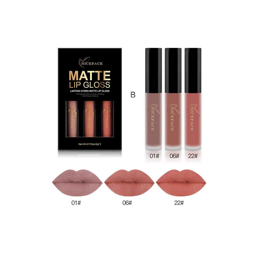 LUFA NICEFACE 3 pcs / set Liquide Rouge À Lèvres Set Longue Durée Matte Lip Gloss Étanche Nude Lip Gloss Cosmétiques Kit